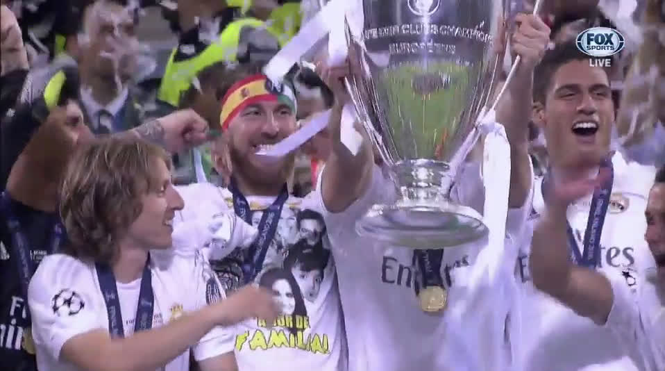 Watch Real Madrids Sergio Ramos Lifts The Champions League Trophy