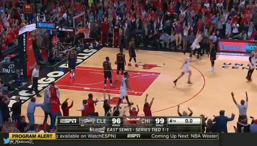 Derrick Rose buzzer beater game winner to take a 2-1 lead against the Cavs in the 2015 NBA Eastern Semis