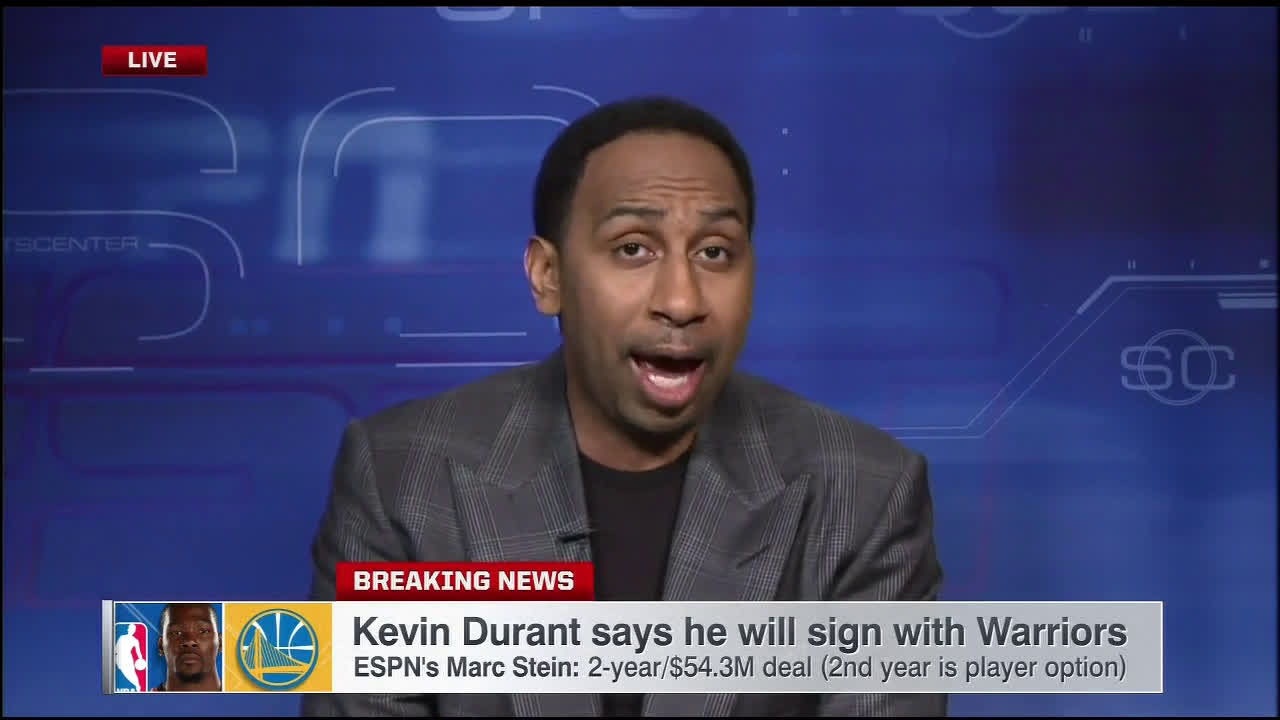 7f1a7b41ea9 SEE IT  Stephen A. Smith goes off on Chris Broussard for comparing Kevin  Durant s decision to leave OKC to LeBron James leaving Cleveland for Miami